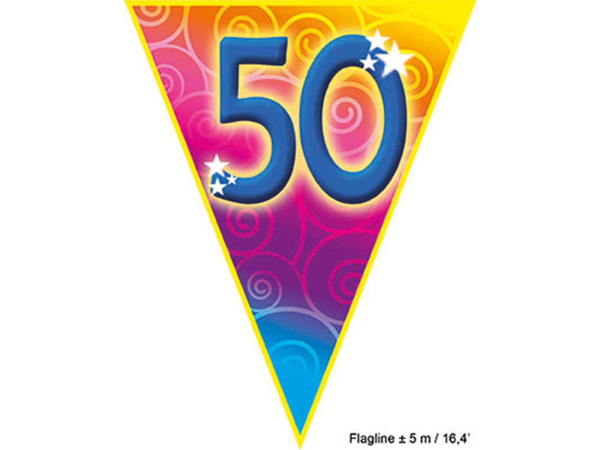5 meter gekleurde vlaggetjes '50 jaar'