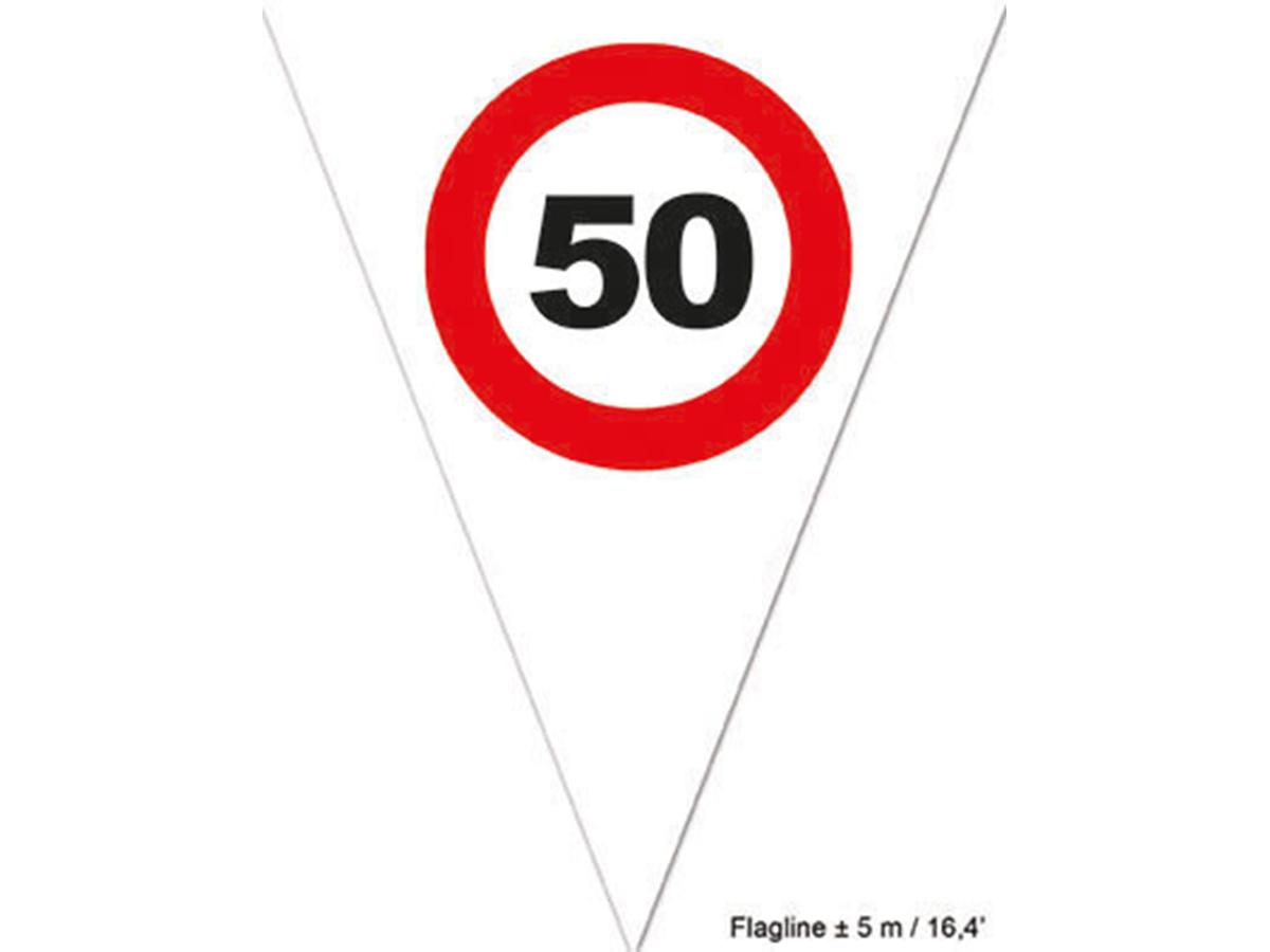 5 meter witte vlaggetjes '50 jaar'