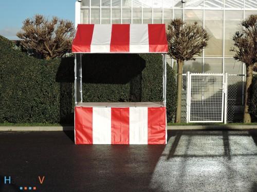 Rood / Witte luxe marktkraam (voor binnen en buitengebruik)