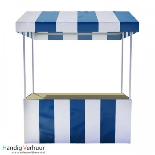 Blauw / Witte luxe marktkraam (voor binnen en buitengebruik)